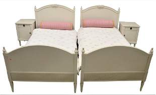 Four Piece Lot, to include a pair of custom twin beds