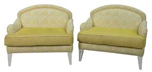 Pair of Custom Yellow Upholstered Chair and a Half,