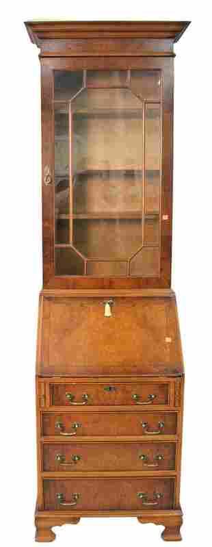 Burlwood Secretary Desk, having one door over drop