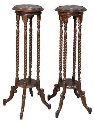 Pair of Mahogany Fern Stands, having round top over