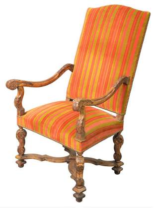 William and Mary Style Walnut Armchair having carved