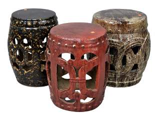 Three Chinese Glazed Ceramic Garden Seats, tallest