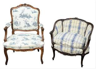 Two Louis XV Style Upholstered Arm Chairs, height 28