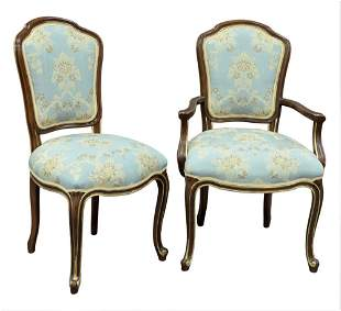 Set of Nine French Style Dining Chairs, having gilt