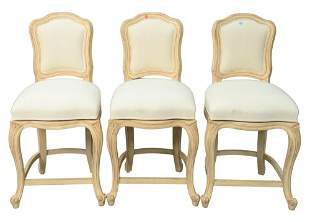 Set of Three Upholstered Barstools, each having swivel