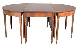 Custom Mahogany Federal Style Three Part Dining Table,