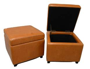 Pair of Brown Leather Ottomans, having lift top opening