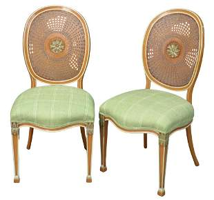 Pair of Adams Style Side Chairs, each with caned backs