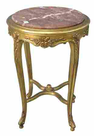 Louis XV Style Giltwood Occasional Table, having round