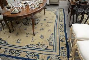 "Peking Chinese Oriental Carpet, overall worn, 8'9"" x 11"
