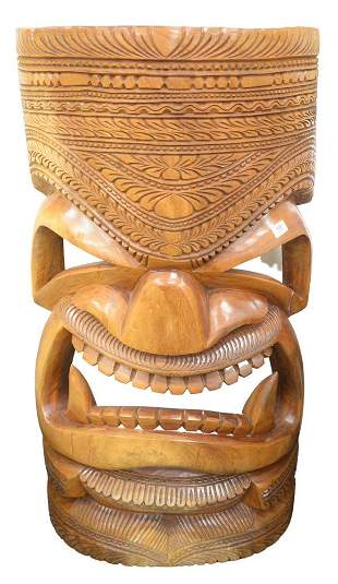 Large Carved Wood Tiki mask, height 51 1/2 inches,