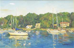 American School (20th Century), Sailboats in the dock,
