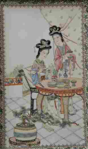 Pair of Chinese Painted Porcelain Tiles, one having two
