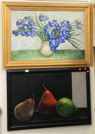 Two Piece Lot to include, a still life with a vase and