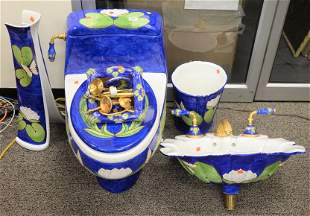 Custom Bathroom Set, having water lily and butterfly