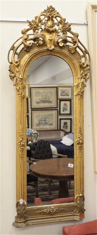 Small Victorian Pier Mirror, having giltwood frame and