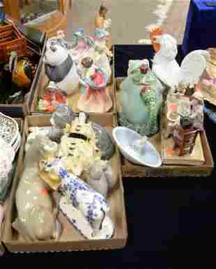 Three Tray Lots of Porcelain Figures, to include a