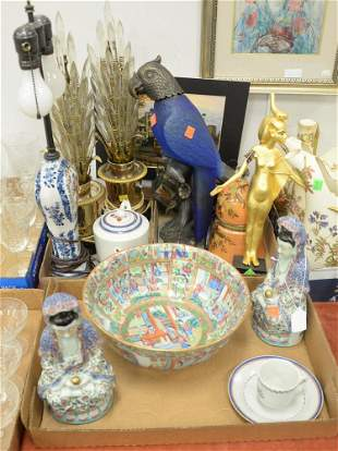Three Box Lots, to include a pair of prism table lamps,