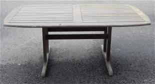 Teak Outdoor Tabe, having trestle base, height 28 inche