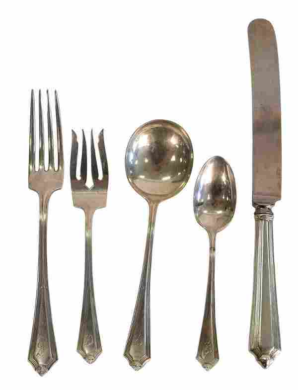 Gorham Sterling Silver Flatware Set for 12, plus two