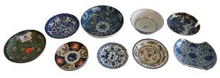 Ten Piece Lot of Asian Items, to include seven blue and