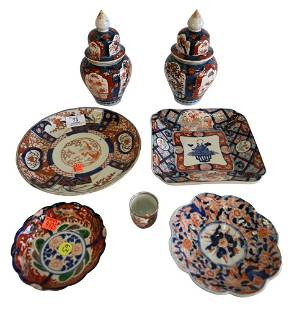 Seven Piece Imari Porcelain Lot, to include a scalloped