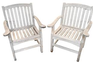 Pair of Teak Armchairs, by Outdoor Design, seat height