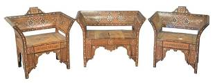 Three Piece Moroccan Mother of Pearl Inlaid Salon Set,