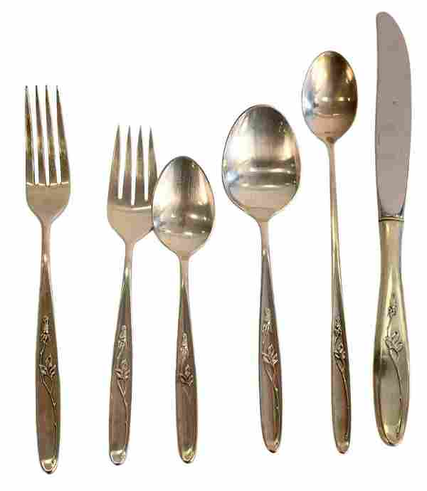 Towle Rose Solitaire Sterling Silver Flatware Set,