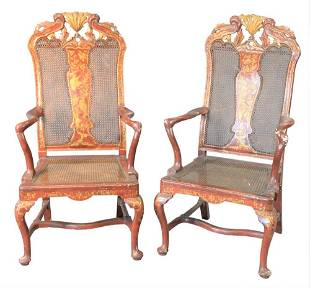 Pair of Continental Style Armchairs, chinoiserie