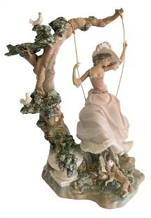"""Large Porcelain Lladro Figure, """"Victorian Girl on a"""