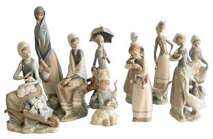 Ten Piece Lot of Porcelain Lladro Figures of Girls with