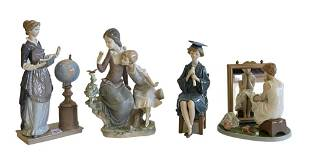 Four piece lot of Lladro porcelain figures, to include