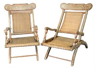 Pair of Moroccan Mother of Pearl Inlaid Folding Chairs,