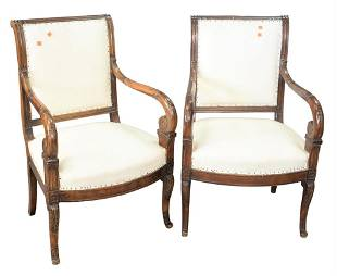 Pair of Directoire Style Armchairs, in need of