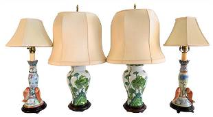 Two Pairs of Asian Style Table Lamps, to include a pair