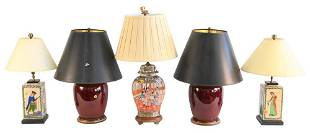 Five Piece Lot of Chinese Table Lamps, to include a