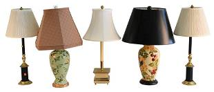 Five Piece Lot of Table Lamps, to include a pair of