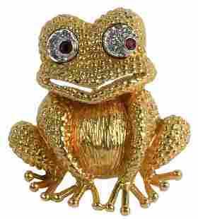 18 Karat Gold Frog Brooch, having diamond and ruby