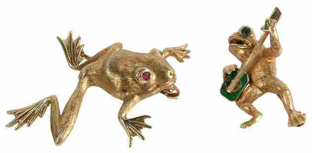 Two 14 Karat Gold Frog Brooches, each with colored