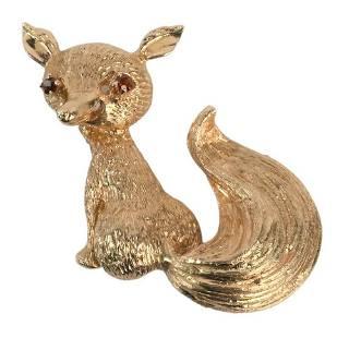 14 Karat Gold Fox Brooch, having red eyes, signed LJ,