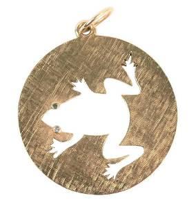 14 Karat Gold Pendant, having cut out frog with diamond