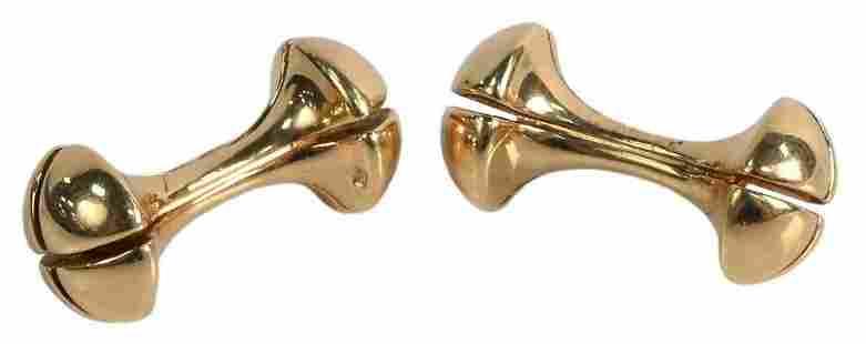 Pair of 14 Karat Gold and Barbell Cufflinks, 12.2