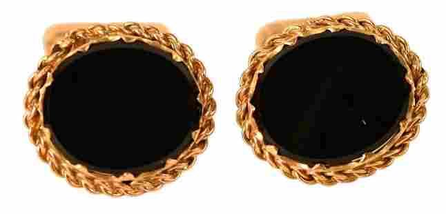 "14 Karat Gold Cufflinks, with onyx stones, top 1"" x"