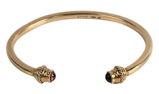 Edwins 14 Karat Gold Bangle Bracelet, having amethyst