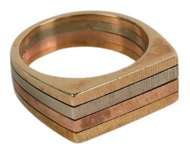 Multicolor 14 Karat Gold Ring, marked 14K, 8.9 grams.