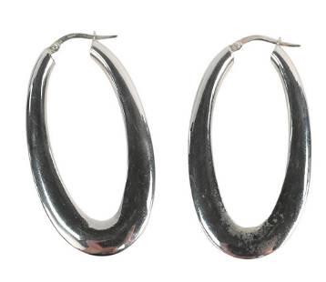 18 Karat White Gold Hoop Earrings, clasp marked 750,