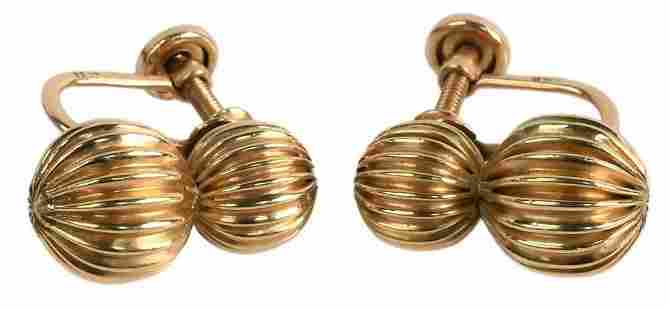 Pair of 14 Karat Gold Earrings, having screw backs, 4.1