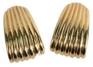 Pair of 14 Karat Gold Rotkel Earrings, clip on, 27.8
