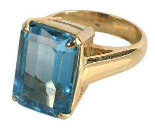 Large Topaz Ring, in gold setting, total weight 9.5
